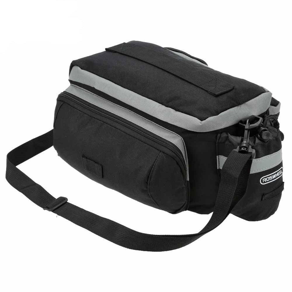 TraderPlus Bike Pannier Bag - Durable & Waterproof Nylon with Reflector Handbag | Shoulder Strap Rack Rear Trunk Tote Bag | Strong Velcro, Zipper Pockets & Bottle Case by TRADERPLUS (Image #3)