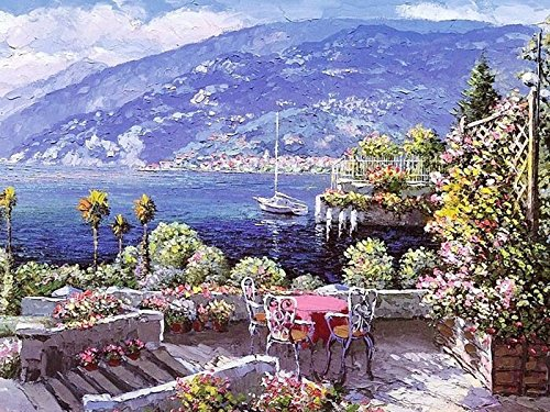 JynXos Paint By Number DIY Painting -?Seascape Gardan 16x20 Inch (Wooden Framed)