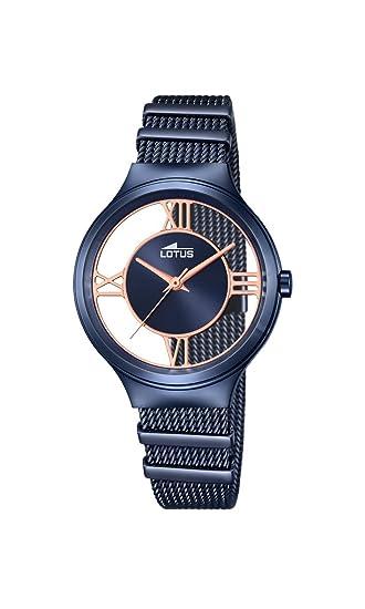 Lotus - Reloj Analogico de pulsera,chapado en acero inoxidable, color de la correa azul