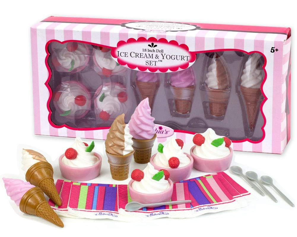 "American Girl ice cream bowl spoon 18/"" dolls NEW"