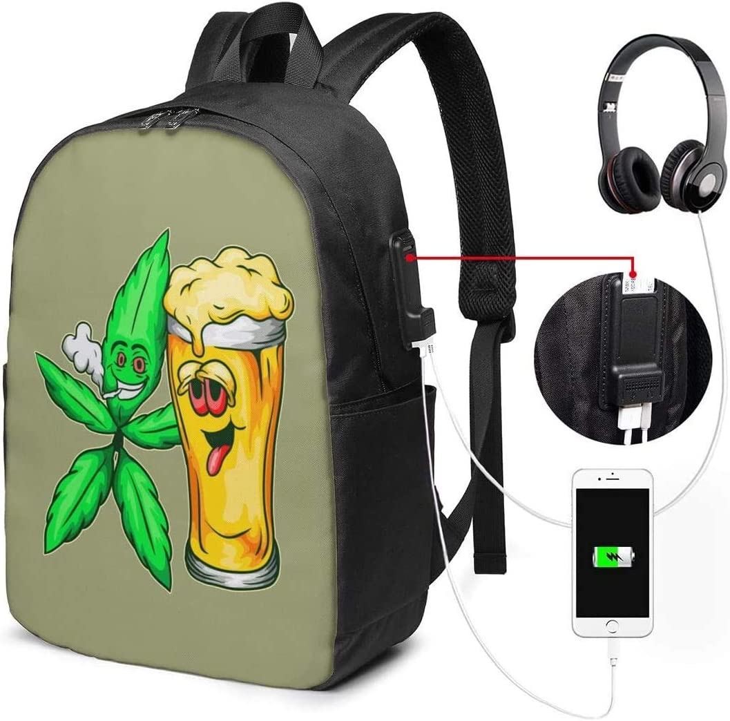 Beer and Weed Lover Art 17 Inch Backpack Travel Laptop Bags Unisex Backpack with USB Charging Port
