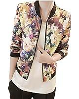 Orangesky Women Stand Collar Long Sleeve Zipper Floral Printed Bomber Jacket