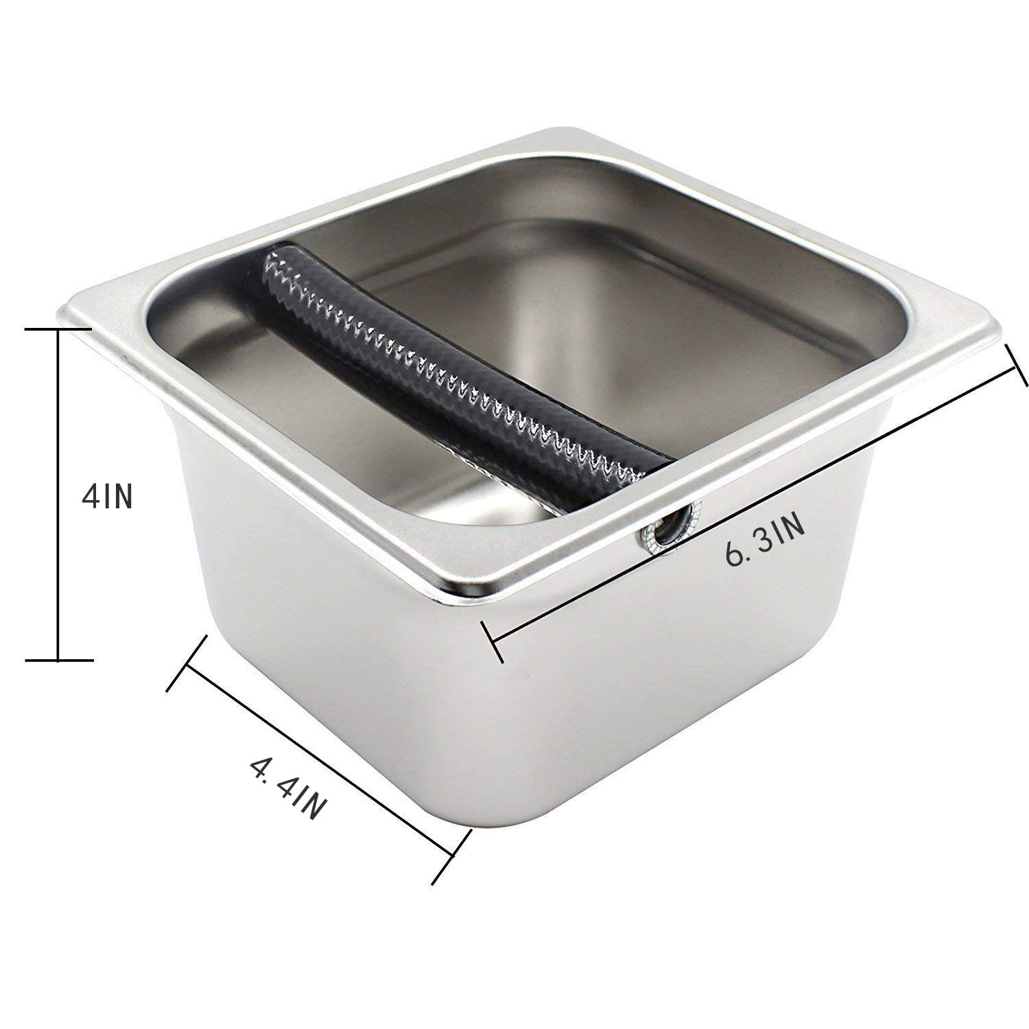 Knock Box Coffee Espresso Stainless Steel Espresso Recycle Dump Bin Rubber Bar Durable Tube Grind 6.3 x 6.89 x 3.7 inch