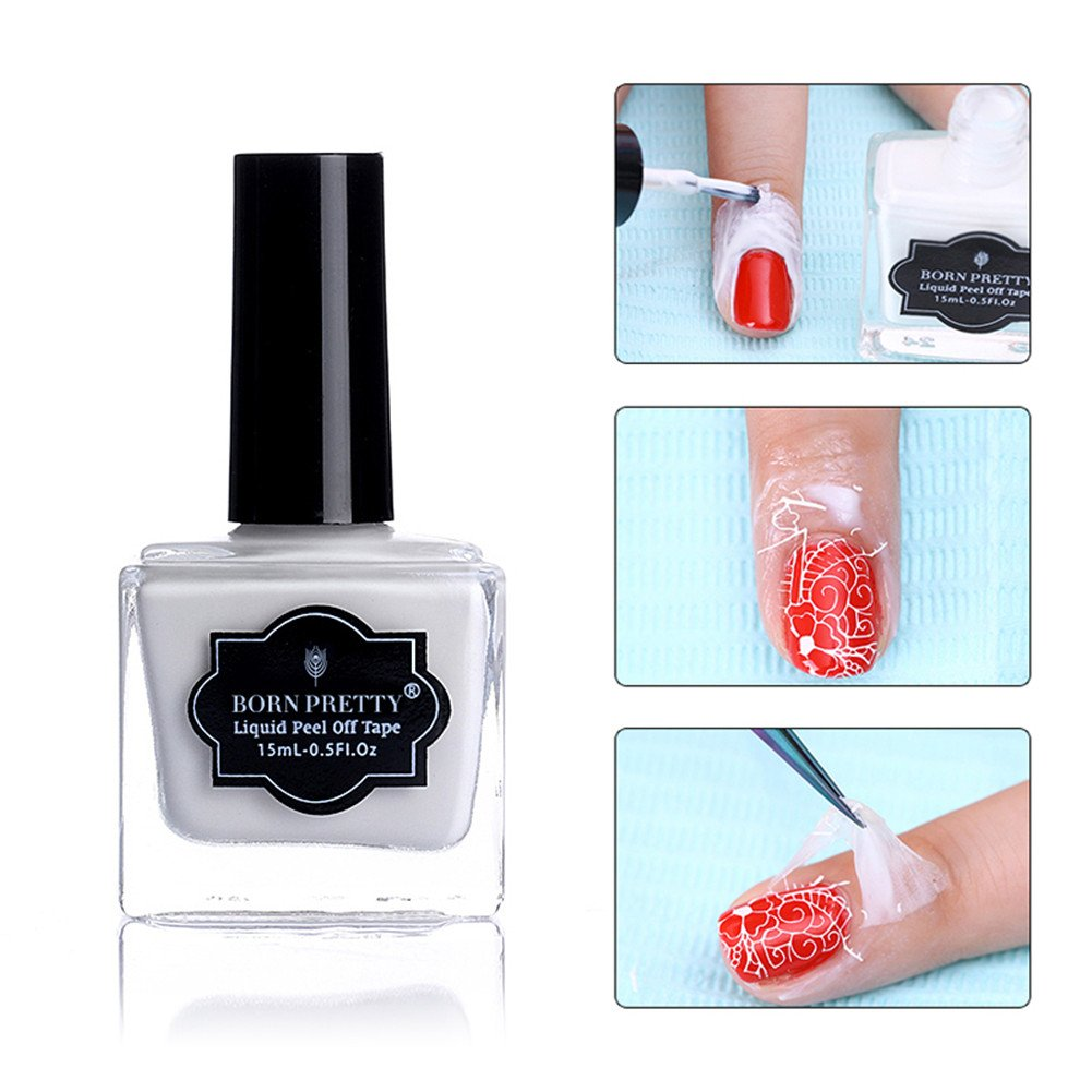 Born Pretty 15ml weiß Abziehen Liquid Tape & Peel Off Base Coat Nail ...