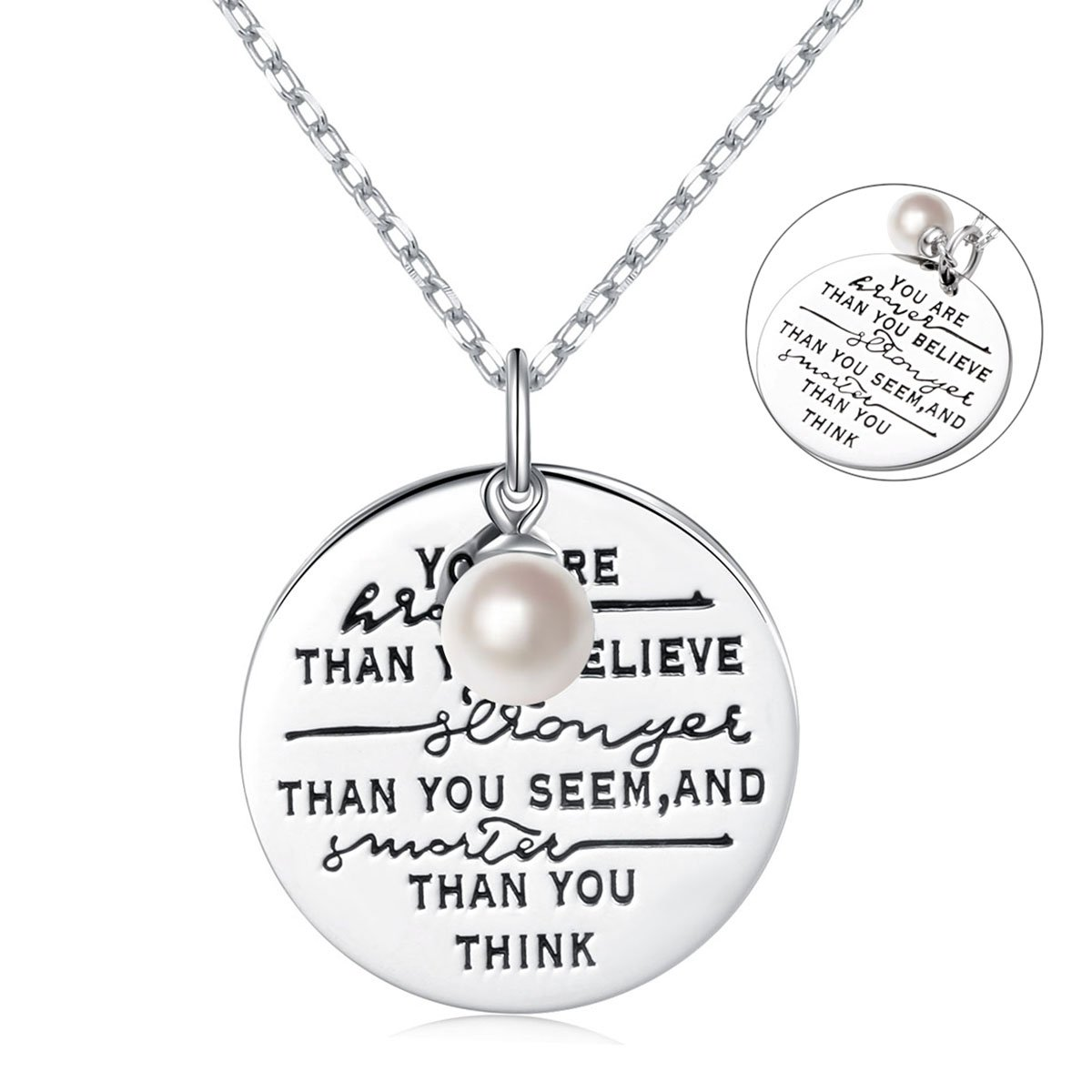 LINLIN FINE JEWELRY 925 Sterling Silver Cultured Pearl Encourage Engraved Insipratinal Disc Necklace Gift for Women Girls,18'' (You Are Braver Than You Think)