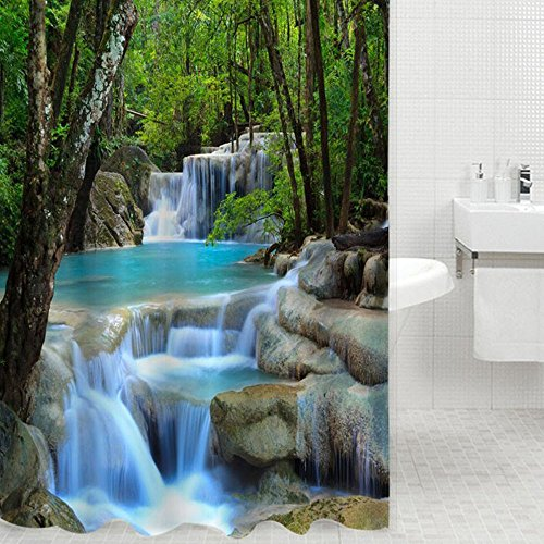 Waterfall Design - 3D Waterfall Scenery Waterproof Shower Curtain Bathroom Products Creative Polyester Bath Curtain cortina de bano with 12 Hooks (72-inch by 78-inch, Green) by Matari