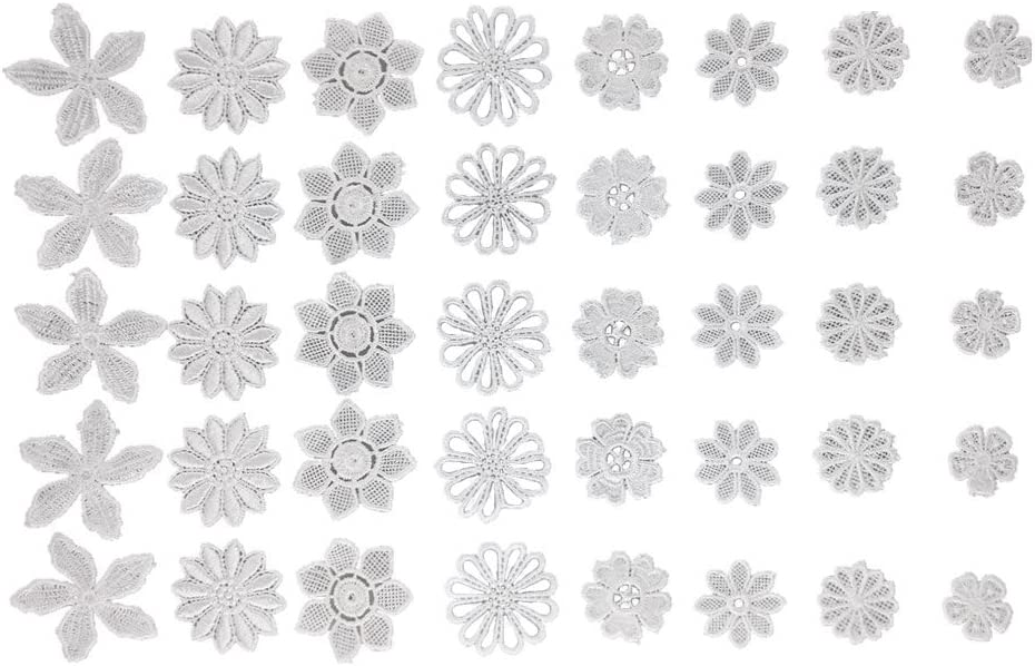 Honbay 40pcs Mix Style White Hollow Out Lace Flower Applique Patch Sewing Craft Decoration