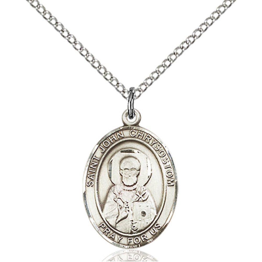Bonyak Jewelry St John Chrysostom Hand-Crafted Oval Medal Pendant in Sterling Silver