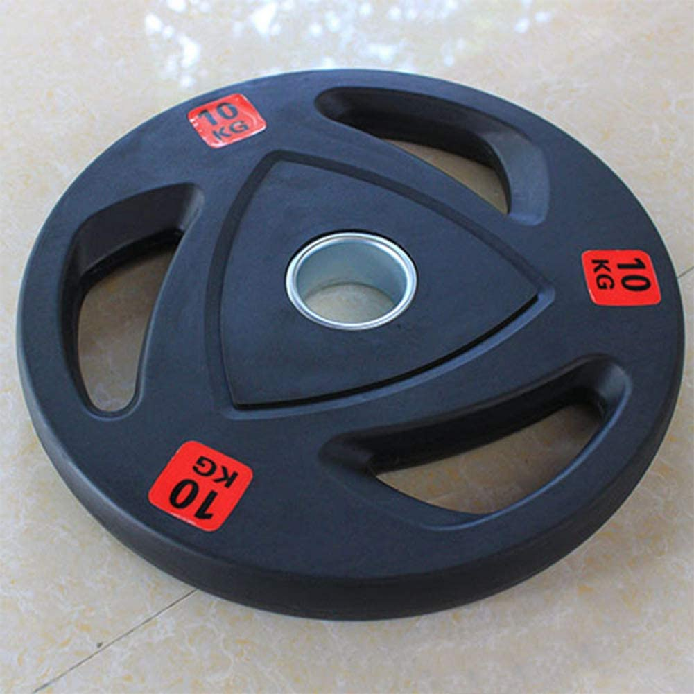 Olympic Barbell Rubber Disc 3 Hole Portable Weight Lifting Plate 1 Pair of Barbell Weights 50mm Hole Diameter