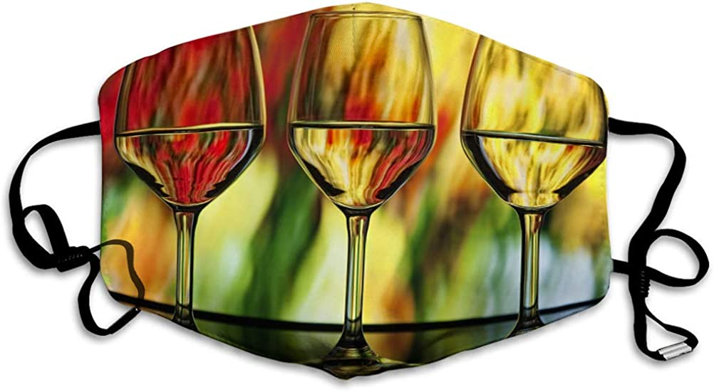 lin xiuying Anti-Dust Covers for Kids Women and Men Three Wine Glasses Psychedelic Abstract Water Colo Earloop Cover