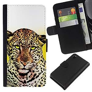 Planetar® Modelo colorido cuero carpeta tirón caso cubierta piel Holster Funda protección Para Sony Xperia Z3 D6603 ( Animal Leopard felina Amarillo Blanco Limpio )