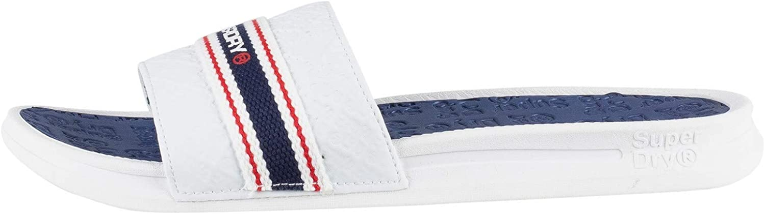 Superdry Crewe International Slide, Chanclas para Hombre Multicolor Off White Navy Blue Red W2d