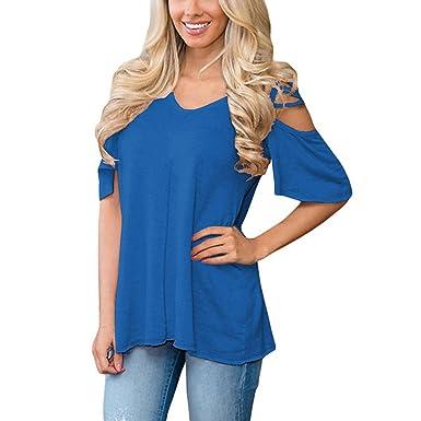 Lylafairy Sexy Top Damen Trägerlos Sommer Shirt V Ausschnitt Kurzarm Bluse  Oberteil Tops (S, 3379c2505d
