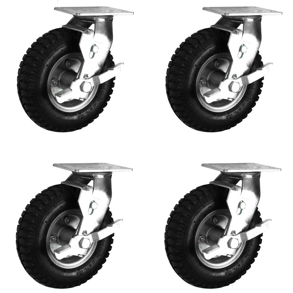 Air Filled Black Rubber Pneumatic Swivel Braked Wheels Casters Extra Heavy Duty (300MM/12') Coldene Castors Ltd