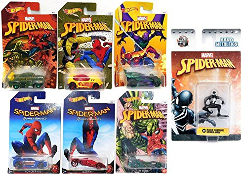 Hot Wheels Marvel Spider-Man Homecoming Movie Exclusive set Collectible 6 car bundle & Marvel Nano Metalfigs Spider-Man Black 1.5-Inch Diecast Figure MV2