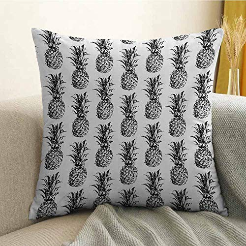 Pineapple Pillowcase Hug Pillowcase Cushion Pillow Artistic Hand Drawn Tropical Theme Vintage Style Pineapple Fruit Pattern Anti-Wrinkle Fading Anti-fouling W16 x L16 Inch Black Gray ()