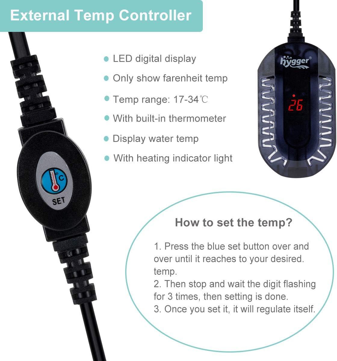 1-50 litros 50W//100W Ajustable Sumergible Calentador con LED Digital Controlador Externo Protector Antiexplosi/ón para Pecera de Tortuga Betta y Peque/ña hygger Calentador para Acuario
