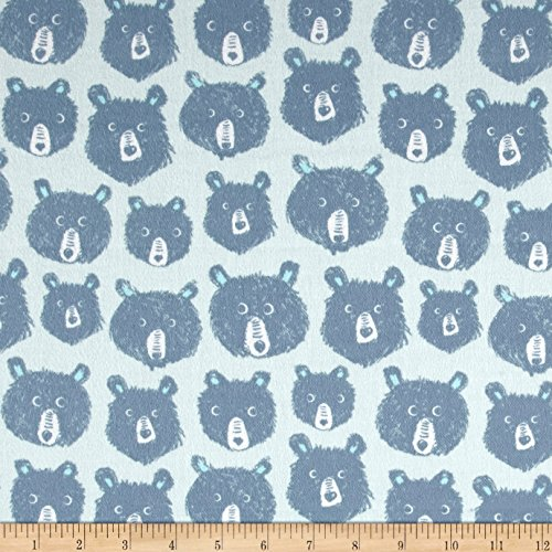 Brushed Cotton Fabric - Cotton + Steel Brushed Cozy Teddy and The Bears Blue Fabric by The Yard