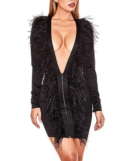 UONBOX Women s Long Sleeves Deep Plunge V Neck Satin Feather Front Mini  Bodycon Dress Black XS a6ed1e414