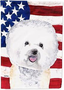 Caroline's Treasures SC9014GF USA American Flag with Bichon Frise Flag Garden Size, Small, Multicolor