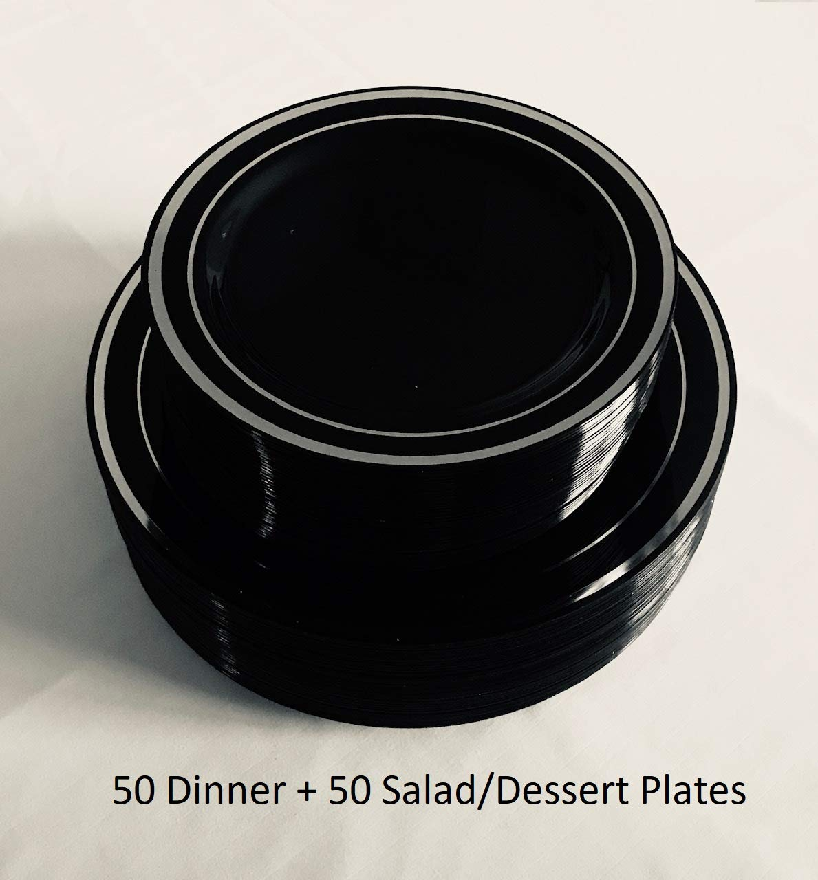 100 Piece Plastic Plates Black & Silver | 50 Guest | 50 Dinner Plates, 50 Dessert Plates by You're Invited (Image #2)