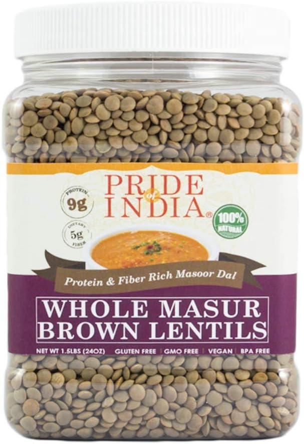 Pride Of India - Indian Whole Brown Lentejas carmesí - 1,5 lbs (680 g) Jar -Lentejas nutricional culinario sano: proteína rica (9 g) y fibra dietética ...