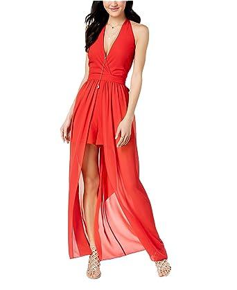 Amazon.com  XOXO Women s Juniors  Halter Chiffon Maxi Skirt Romper ... 074cd438ef
