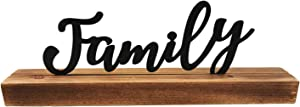 """NITYNP Tabletop Standing Black Family Block Letters Sign,Metal Cutout Word Mental Fireplace Decor 11""""x2.75"""""""