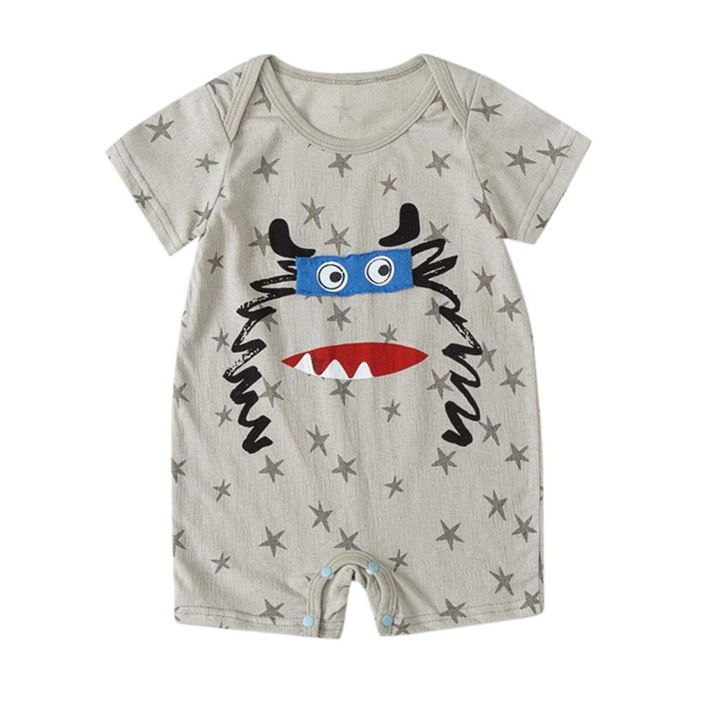 NUWFOR NewbornBaby Boy Kids Girls Cartoon Infant Summer Rompers Outfits Clothes(Gray,0-6 Months)