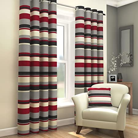 Tonys Textiles Black Red Grey Cream Striped Ring Top Fully Lined Pair Of Eyelet Curtains