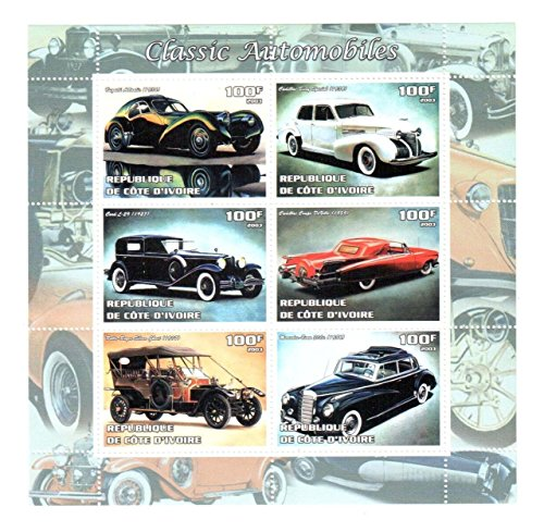 Classic Car Stamps for Collectors - Classic Automobiles - 6 mint stamps - never mounted and never hinged