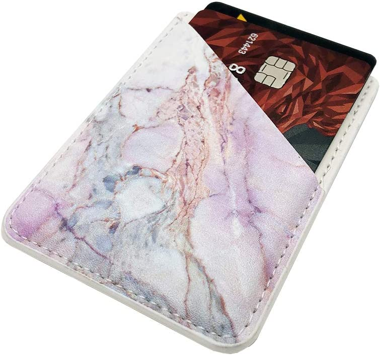 Phone Card Holder uCOLOR PU Leather Wallet Pocket Credit Card ID Case Pouch 3M Adhesive Sticker on iPhone Samsung Galaxy Android Smartphones Black Marble