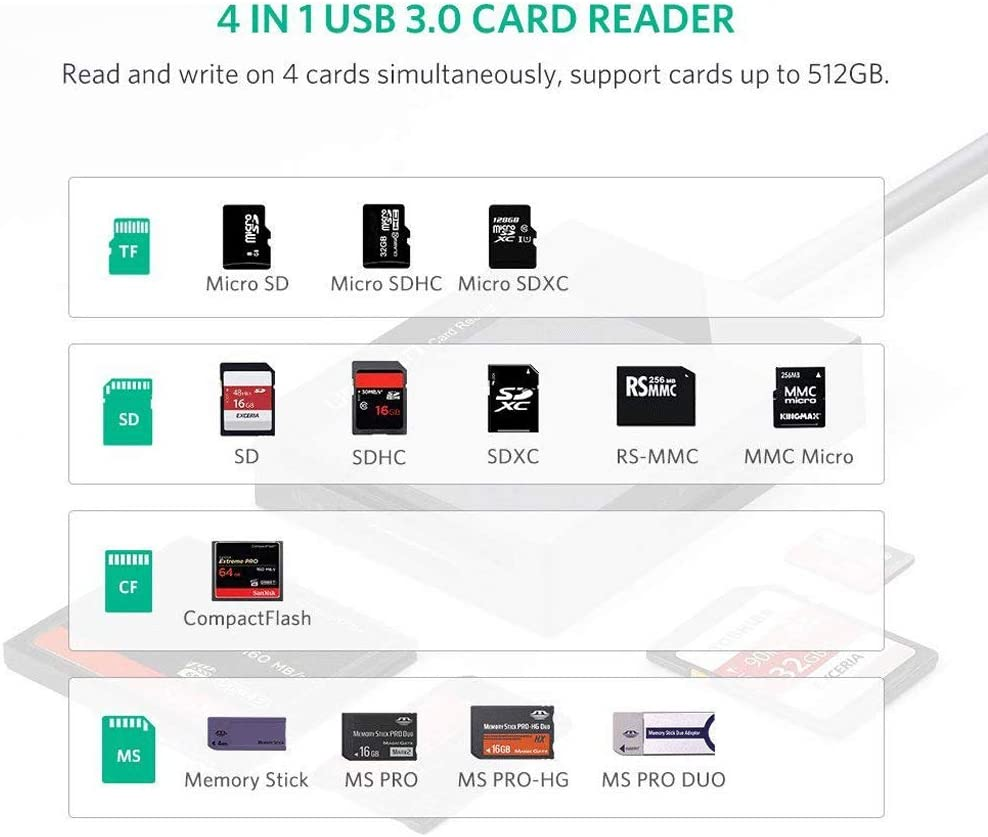 Compatible with MacBook Color : A Linux SD Card Reader USB 3.0 CF Memory Card Adapter IhDFR Hub 5Gbps Read Windows 10