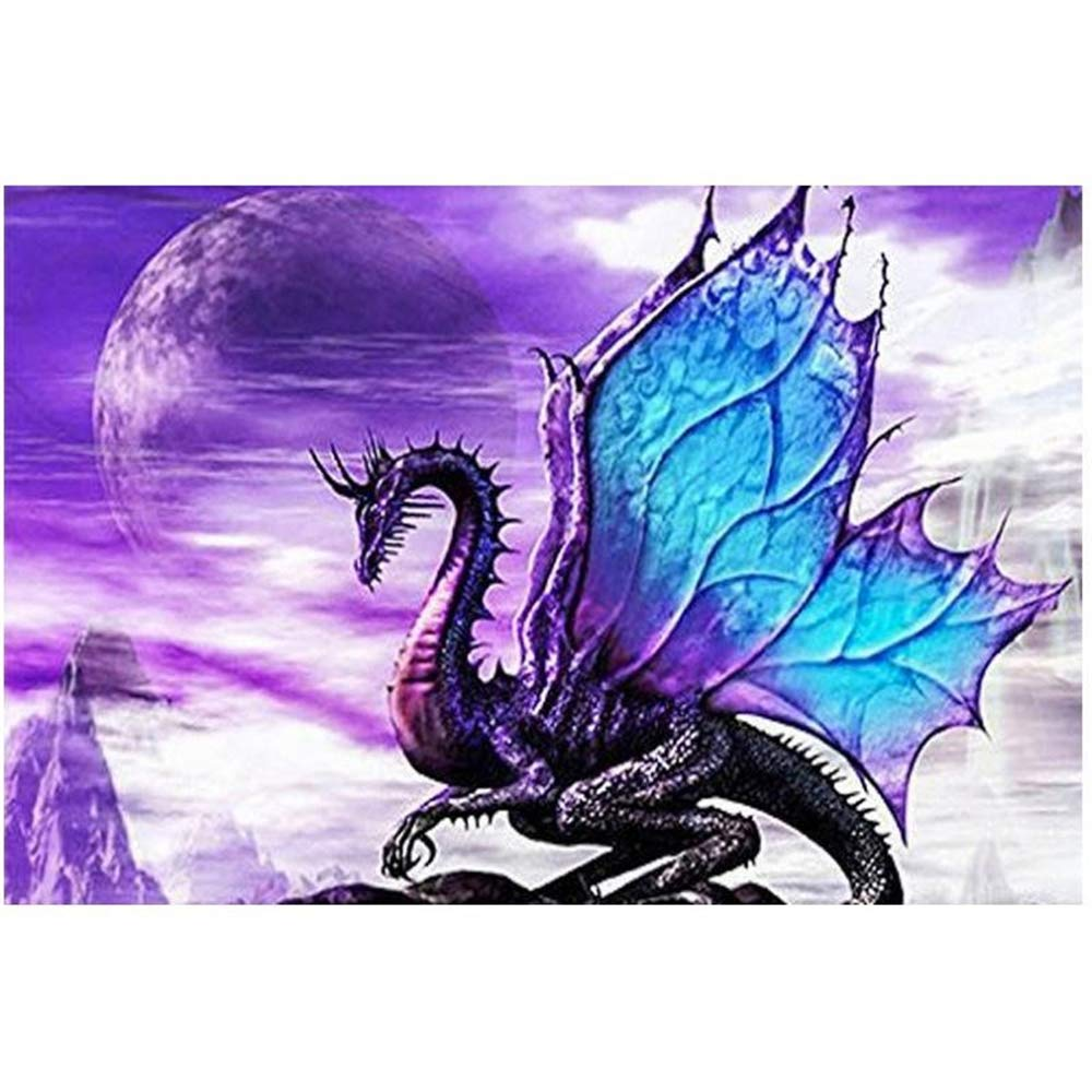 5D Diamond Painting Kit by Numbers Full Drill Purple Dragon Magic 30X40cm Cross Stitch Embroidery DIY Art Craft Embroidery Rhinestone Sunnay