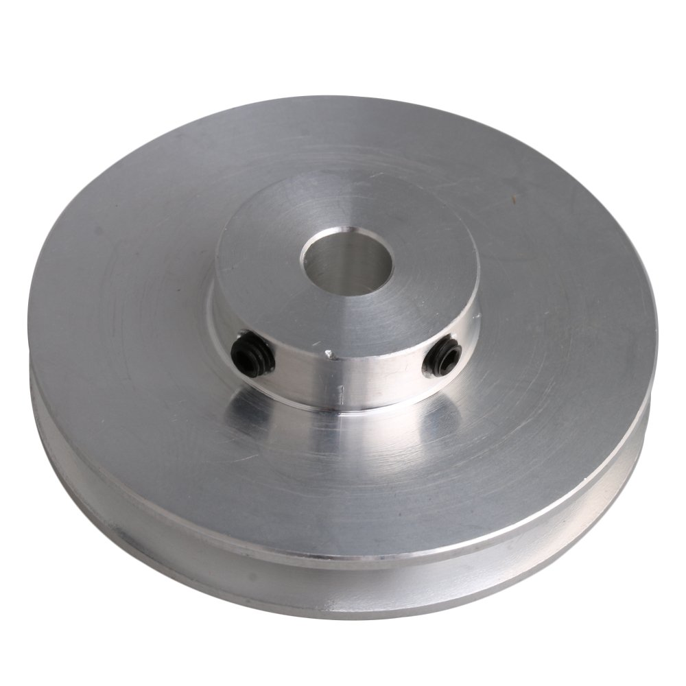 BQLZR 58x16x8MM Silver Aluminum Alloy Single Groove 8MM Fixed Bore Pulley for Drilling Machine 3-5MM PU Round Belt
