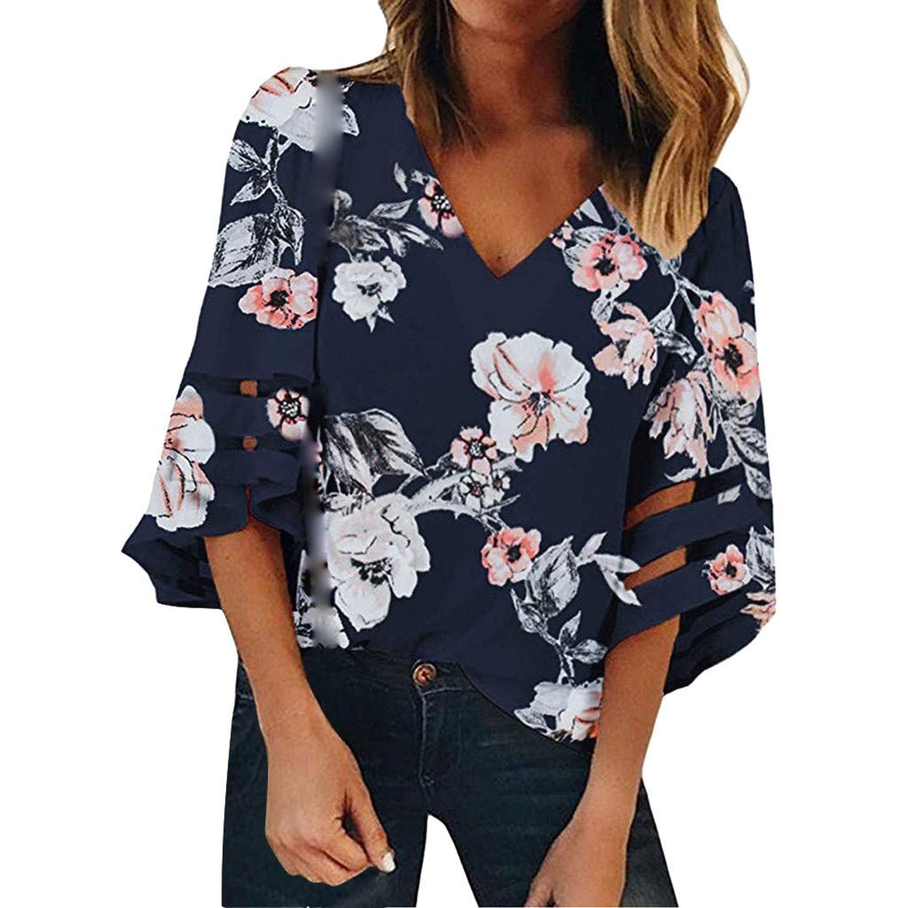 Ladies Floral 3//4 Bell Sleeve T-Shirt Casual Loose Tunic Blouse Women V-Neck Mesh Panel Tops
