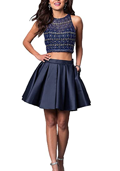 Dearta Womens Two Pieces Jewel Satin Short Homecoming Dresses Party Prom Gowns: Amazon.co.uk: Clothing