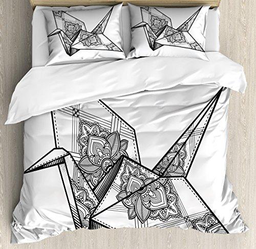 Lunarable Art Queen Size Duvet Cover Set, Origami Style Crane Bird Design Hand Drawn Monochrome Far East Asia Folklore Motif, Decorative 3 Piece Bedding Set with 2 Pillow Shams, Black and White