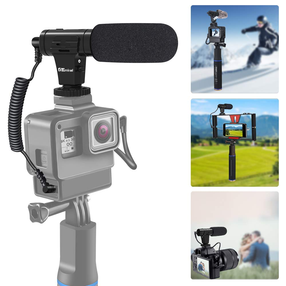 Phone Microphone and Camera Microphone, Super-Cardioid Video Microphone with Earphone Monitor Hole and Deadcat Windscreen for Camera and Smartphone by Emiral