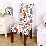 6 person dinning table - Eforcurtain 6 Sets Stretch Spandex Dining Room Wedding Banquet Protect Chair Cover Seat Slipcover Flowers Printed for Dinning Tables, Multicolor/Red