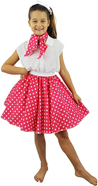 Polka Gon na /& Sciarpa Rosso con Puntini 50s ROCK N ROLL Fancy Dress Costume