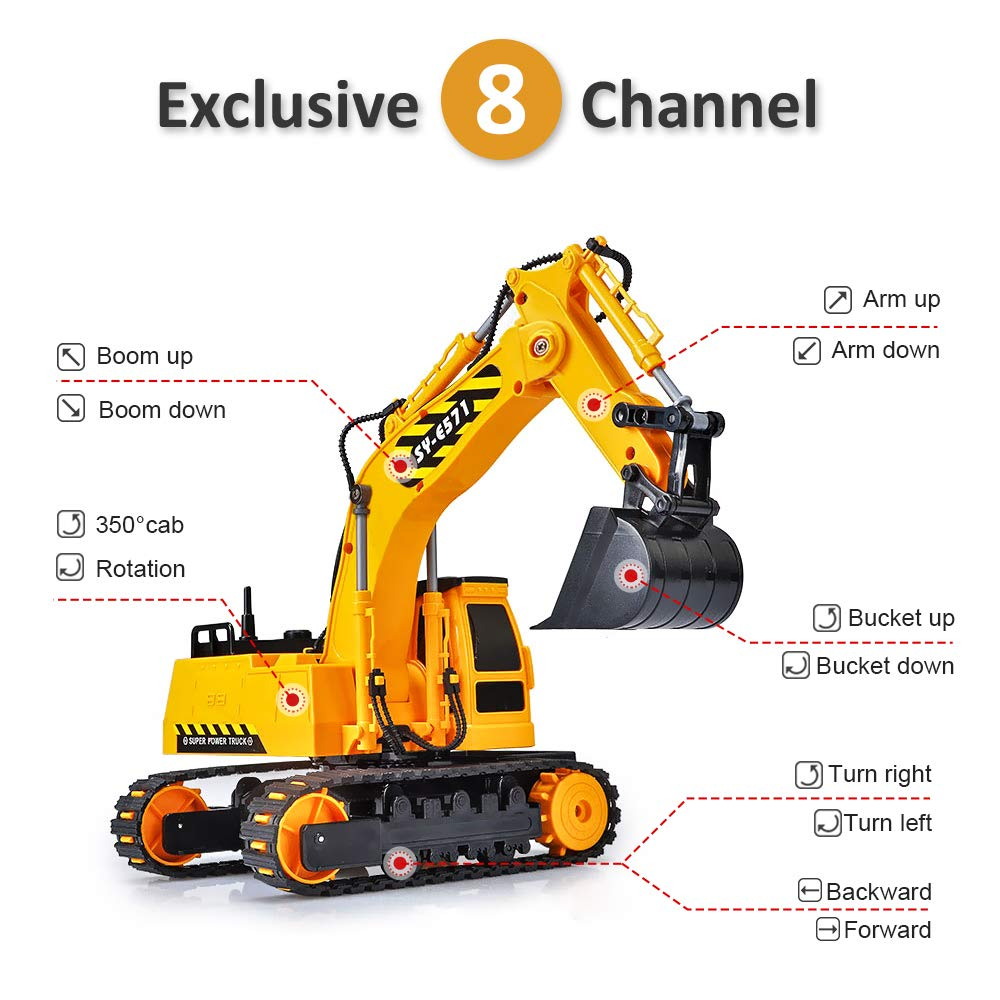 DOUBLE  E Remote Control Excavator Full Functional Construction Tractor, Rechargeable RC Truck Excavator with 2.4Ghz Transmitter by DOUBLE  E (Image #5)