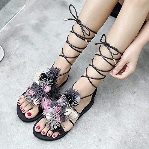 MZG Neue Quasten Sandalen weibliche Fuß-Bügel-flache Art- und Weisesommer-Schuhe 2