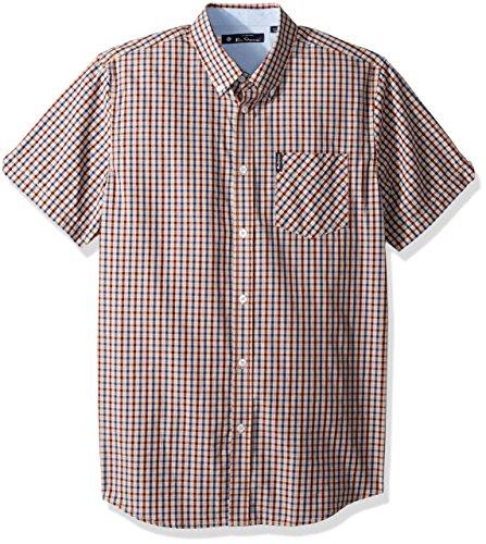 Ben Sherman Men's Mini Check Shirt, Wine, Large
