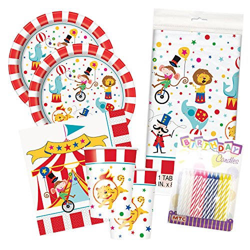 9 Ounce Circus Cups (Circus Carnival Birthday Party Tableware Deluxe Bundle Plates Napkins Serves 16)
