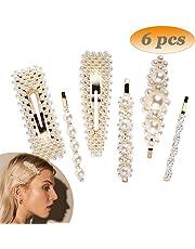 Pearl Hair Clips, Artificial Pearl Hair Barrettes Handmade Bling Hair Pins for Bridal Decoration Fashion Hair Accessories, Birthday Gifts for Women Girls, 6pcs