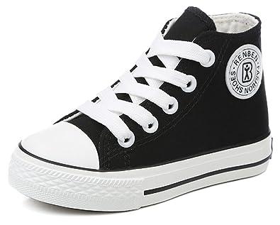Amazon Com Hiease Kids Classic High Top Canvas Shoes School Flats