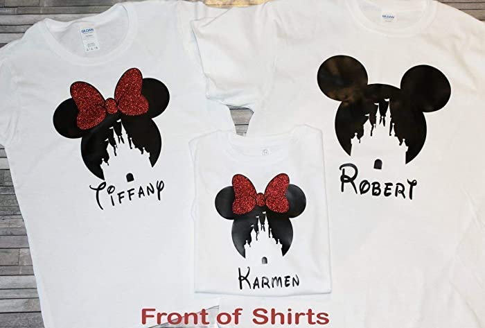 67eb637bf8251 Amazon.com: Disney Shirts For Family Matching/Matching Disney Shirts/Disney  Vacation Shirts/Minnie Ears/Mommy Daddy Trip Red Black White Minnie Mouse  Mickey ...