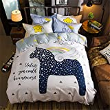 yeeKin Kids Cartoon Series Bedding Sets 3/4pcs Printed Unicorn Rainbow Moon Pattern Comforter Set,Queen Size/4pcs