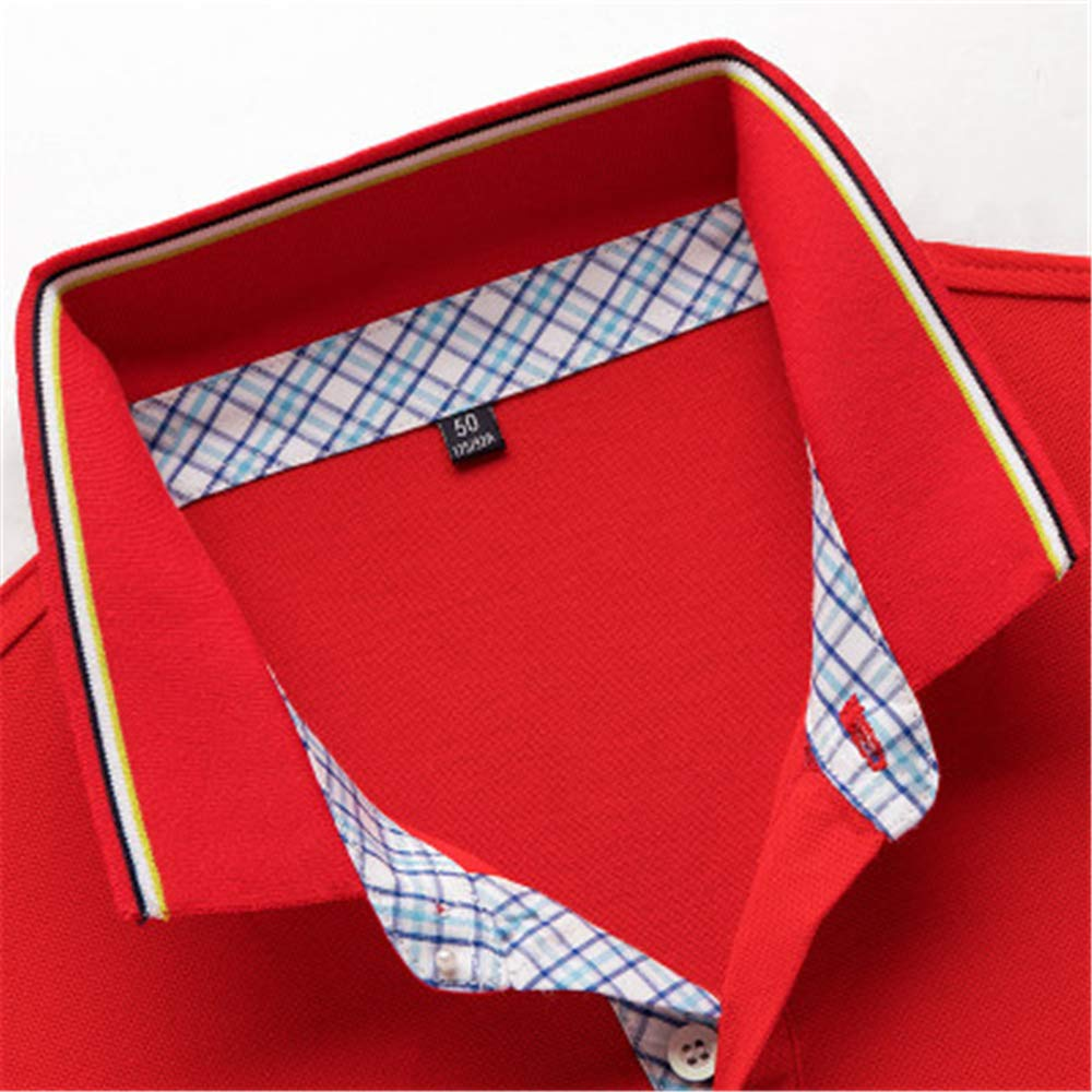 Mens Polo Shirt Short Sleeve Classic Causal Business Slim Fit T Shirts Red-X-Large